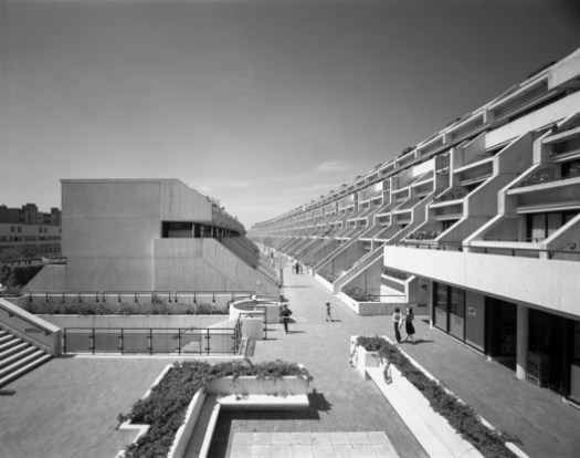 Designed in 1968 by Neave Brown of Camden Council's Architects Department, this multi-family, 8-storey council housing estate, properly known as the Alexandra and Ainsworth estate, was built between 1972 and 1979.. Image © Martin Charles / RIBA Collections
