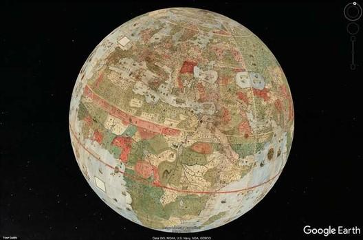 Proyección del mapa visto en Google Earth. Imagen vía David Rumsey Map Collection, Universidad de Stanford