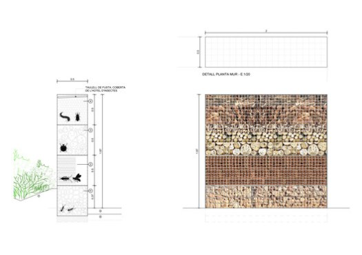 Section, Elevation and Detail - Insect Hotel