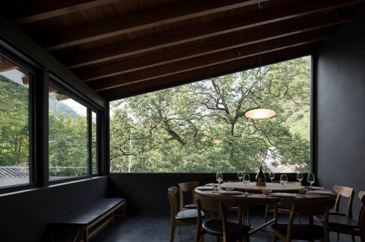 Large Window View Towards the Old Camphor From VIP Table in Restaurant. Image © Hao Chen
