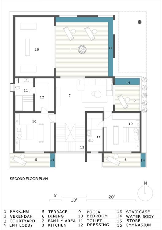 SECOND_FLOOR_PLAN Hambarde Residence / 4th Axis Design Studio Architecture