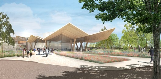 New South Entry from MacArthur Park. Image Courtesy of Studio Gang