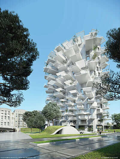The L'arbre Blanc housing tower features dramatic terraces that appear to float on air. Image Courtesy of SFA+NLA+OXO+RSI
