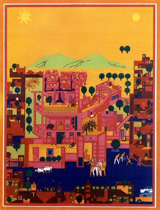 Concept Drawing for Vidhyadhar Nagar Masterplan . Image Courtesy of Pritzker Architecture Prize