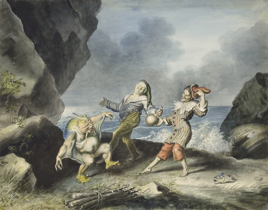 The Tempest, Act II Scene 2, Caliban, Stephano and Trinculo dance on the seashore. Image via Johann Heinrich Ramberg