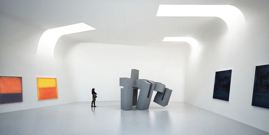 The gallery spaces house temporary and permanent exhibits. Image Courtesy of Steven Holl
