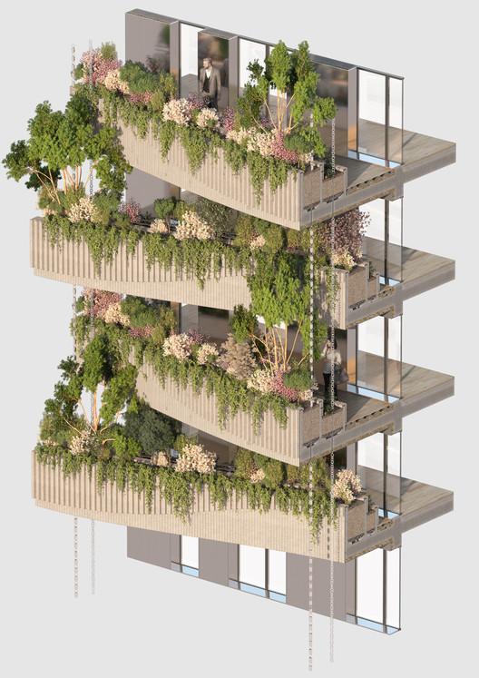 25_-_ARBORICOLE_-_FACADE_DETAILS_WITH_TREES Vincent Callebaut Architectures Wins Public Vote for Millennial Vertical Forest Competition Architecture