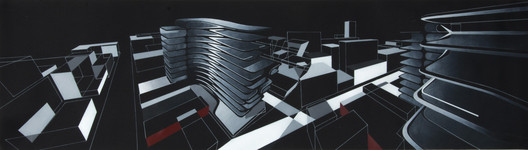 03._Formal_composition_study_(painting_using_multiple_perspectives) 520 West 28th / Zaha Hadid Architects Architecture