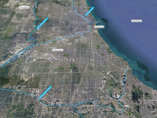 """Ross Barney's vision isn't limited to Chicago's central core, but expands much farther into the heart of Chicagoland. She has been integral to the Great Rivers project, a city initiative described as the """"first unifying and forward-looking vision and action agenda for Chicago's three rivers: the Calumet River, Chicago River and Des Plaines River"""". Image Courtesy of Ross Barney Architects"""
