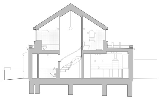 Bathroom and stair section Scale 1 to 50 at A3