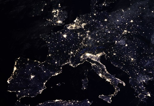 Composite image of Europe at night, 2016. NASA Earth Observatory images by Joshua Stevens, using Suomi NPP VIIRS data from Miguel Román, NASA's Goddard Space Flight Center