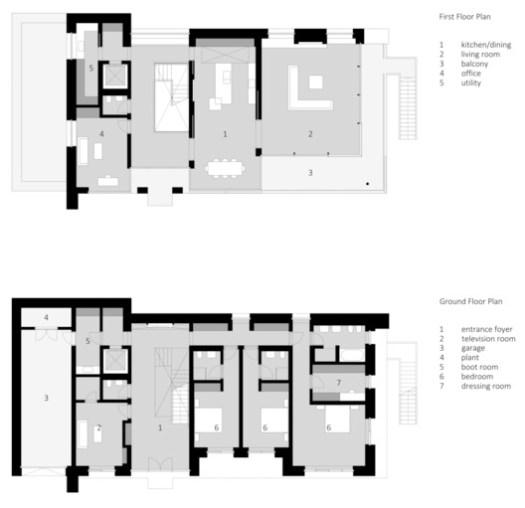 Ground + First floor plan
