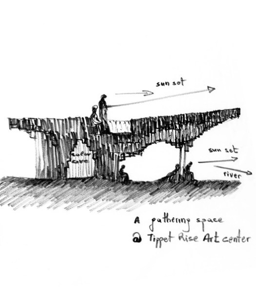Sketch by Francis Kéré of the Pavilion that he is designing at Tippet Rise Art Center in Montana. Image Courtesy of Kéré Architecture