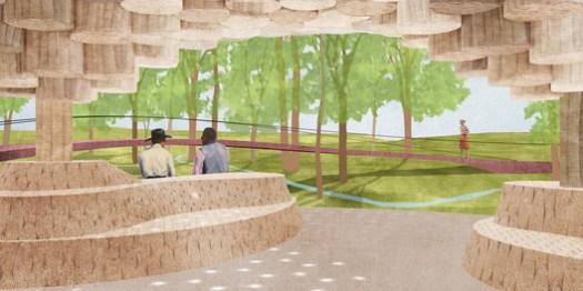 Interior view of Pavilion designed by Francis Kéré at Tippet Rise Art Center in Montana. Image Courtesy of Kéré Architecture