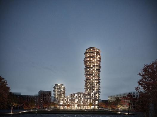 Belatchew-Arkitekter--Sveafastigheter--Nacka--Discus--Nattvy-frU%CC%88n-parken--4000px Belatchew Arkitekter Releases Images of Proposed Discus Tower in Stockholm Architecture