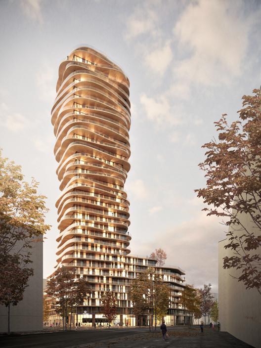 Belatchew-Arkitekter--Sveafastigheter--Nacka--Discus--Gatuvy--4000px Belatchew Arkitekter Releases Images of Proposed Discus Tower in Stockholm Architecture