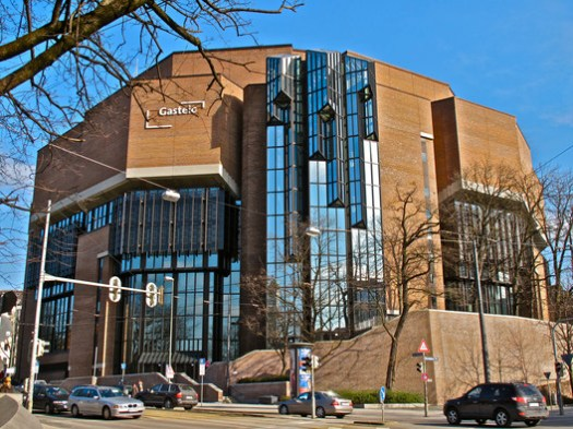 Munich Gasteig, built 1984. Image © <a href='https://commons.wikimedia.org/wiki/File:Gasteig_Philharmonie_14.jpg'>Schlaier</a> licensed under <a href='https://creativecommons.org/licenses/by-sa/3.0/deed.en'>CC BY-SA 3.0</a>