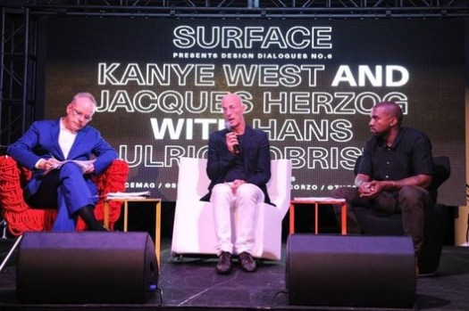 Hans Ulrich Obrist, Jacques Herzog, and Kanye West speak on Architecture in 2013.. Image © Seth Browarnik/startraksphoto.com, via Surface Magazine's Facebook Page