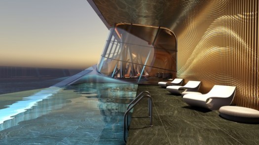 Swimming pool render. Image Courtesy of ZHA