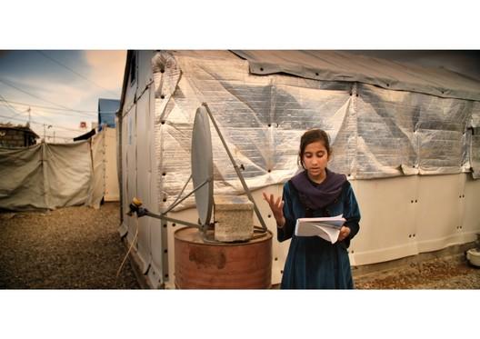 Refugee Poet. The Human Shelter. Image Courtesy of Boris Bertram