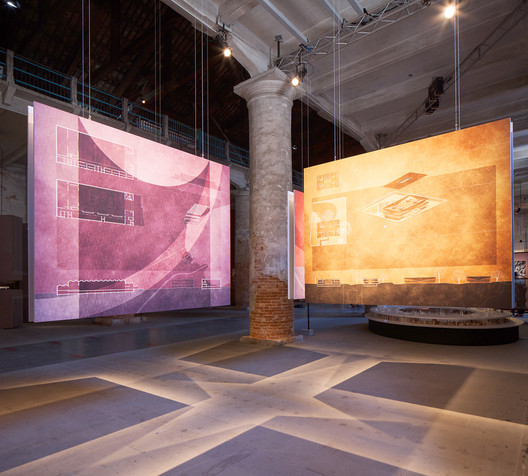 Angela Deuber's drawings in the Arsenale at the Venice Biennale. . Image © Italo Rondinella