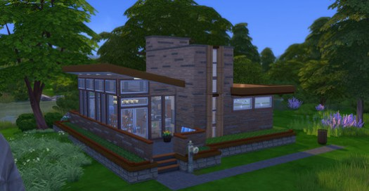 The Sims player Jason Sterling's virtual rendition of Frank Lloyd Wright's Seth Peterson Cottage.