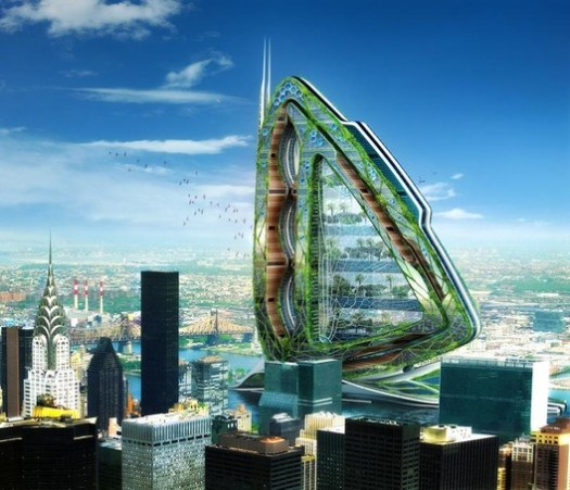 """Also by Vincent Callebaut's firm, the """"Dragonfly"""" project proposes a vertical urban farm in the heart of New York City's Hudson River."""