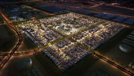 An aerial view of the planned Masdar City.