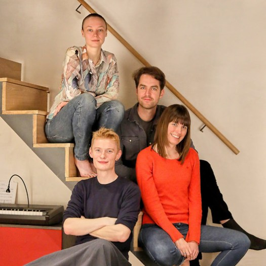 The curatorial team for the 2019 Oslo Architecture Triennale. Clockwise from top: Maria Smith, Matthew Dalziel, Cecilie Sachs Olsen, and Phineas Harper. Image Courtesy of Oslo Architecture Triennale