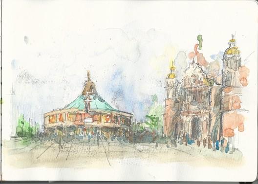 Brian Luna (@brianmaldad). Technique: Watercolor. Image © Urban Sketchers