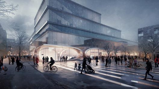 Fornebu Senter Station West Entrance. Image © VA, Courtesy of Zaha Hadid Architects