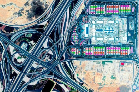 Mall of Qatar at the Rawdat Rashed Interchange, Al Rayyan, Qatar. Postcard image, Log 47: Overcoming Carbon Form. Photo: Maxar Technologies