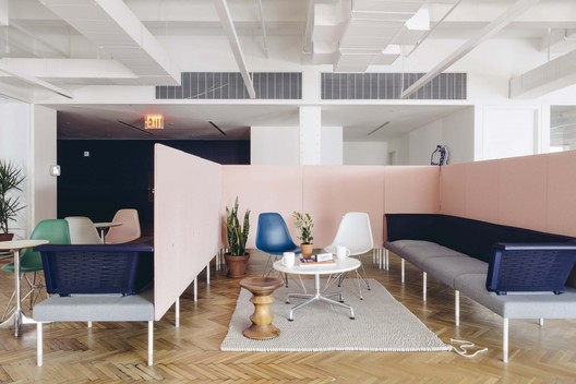 The Industry Impact Survey found that workplace projects have generally been put on hold as clients consider rightsizing their office spaces. Shown here: the New York offices of the men's care start-up Harry's. Courtesy Geordie Wood