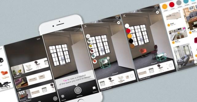 Uso da realidade aumentada para a especificação de mobiliário e escolha das cores. Imagem © Pair