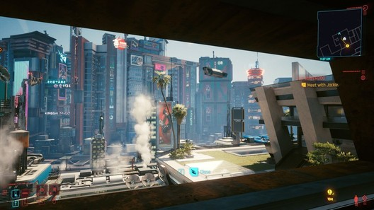 The view from V's apartment, the player's starting home base in Cyberpunk 2077. Image © Ryan Scavnicky/CD Projekt RED