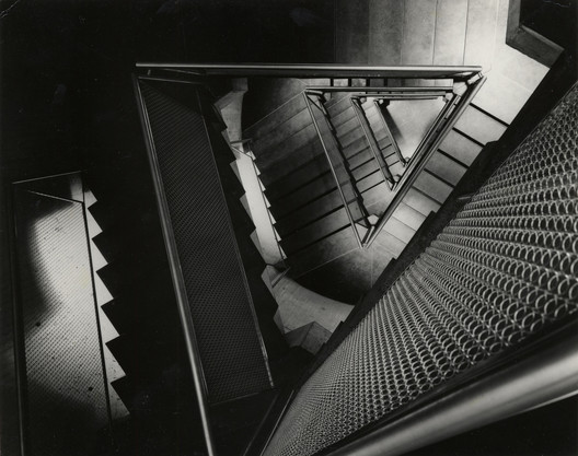 Yale University Art Gallery, ca. 1954. Construction view of staircase. Image © Lionel Feininger. Yale University Art Gallery Archives