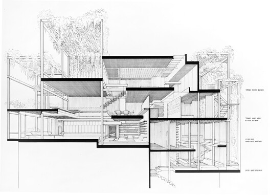 Paul Rudolph, Rudolph Apartment at 23 Beekman Place, New York (1977-1997). Perspective Section, 1997. Digitized drawing | 4732 x 3416 px. The Paul Rudolph Archive, Library of Congress, Print and Photograph Division, LC-USZ62-123771. The cut shows the complexity of the space that Timothy Rohan describes as exemplary of Rudolph's approach to the private domain.