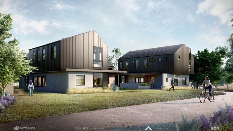 3Strands_and_ICON_3D-Printed_Homes_AustinTX_2021. Image Courtesy of Logan Architecture