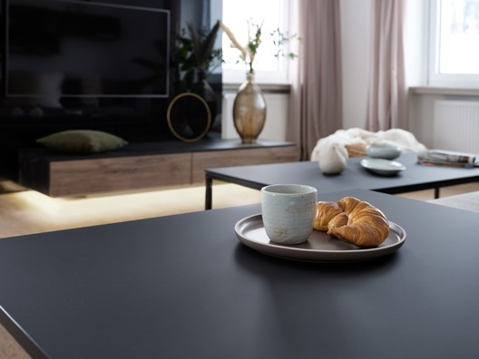 Thanks to the improved surface properties, PerfectSense Premium Matt Lacquered Boards can now be used for horizontal surfaces. Image Courtesy of EGGER Holzwerkstoffe