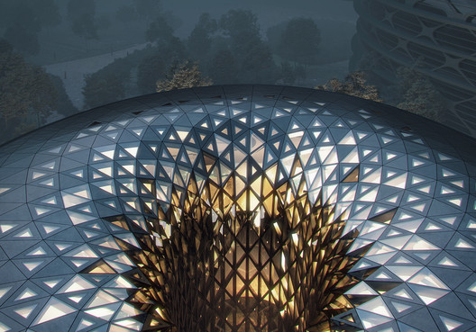 Render of Chengdu's Unicorn Island project, designed by Zaha Hadid Architects. Image © MIR