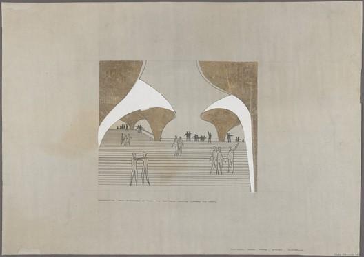 Jørn Utzon's competition submission drawing number 11956, Jørn Utzon   Hellebæk, Denmark.. Image Courtesy of State Archives, NSW