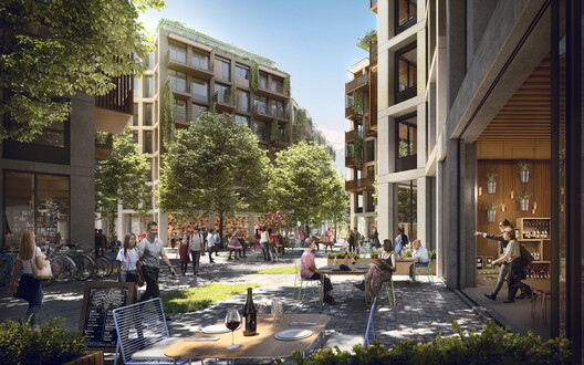 Ground level of the residential development. The incredibly rich mix of uses at ground level with a variety of retail and social spaces tie the residences with the rest of the masterplan, creating a complete ensemble that is integrated at every level.. Image © Foster + Partners