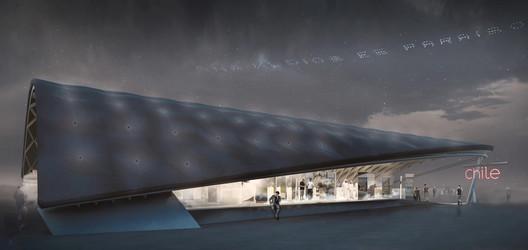 Original design of the Chilean pavilion at the Expo 2020 Dubai, designed by Smiljan Radic, Cecilia Puga and  Paula Velasco. Image via Public
