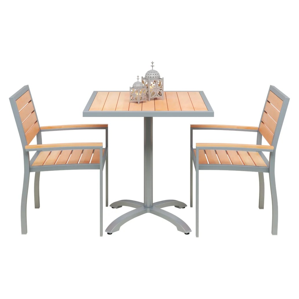 set of 2 grey heavy duty arm chairs with table