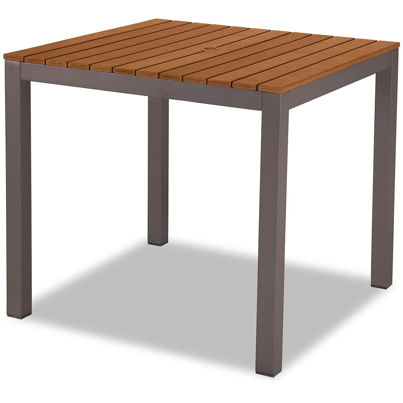 aluminum patio table in rust color finish with plastic teak slats