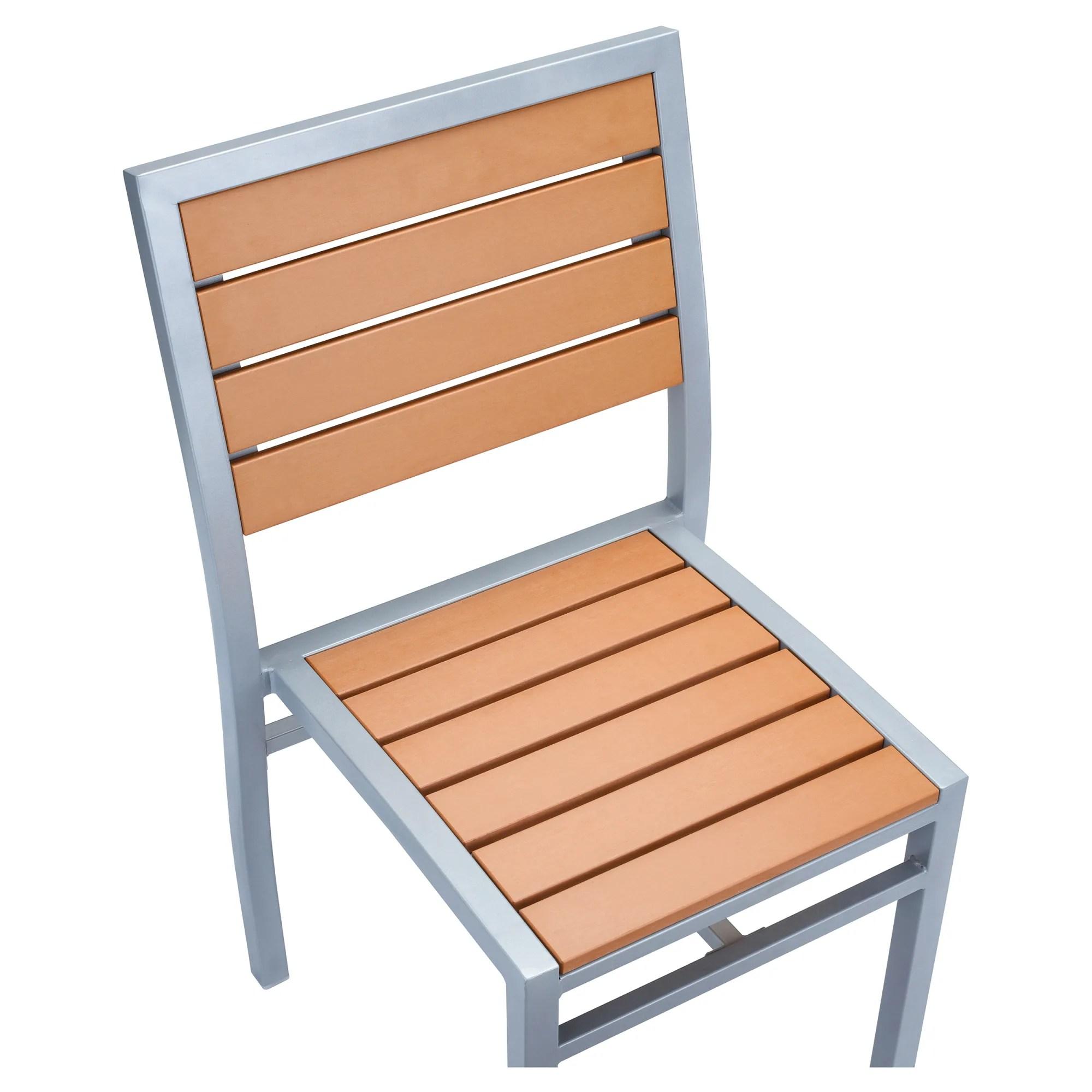 grey finish heavy duty patio chair with plastic teak