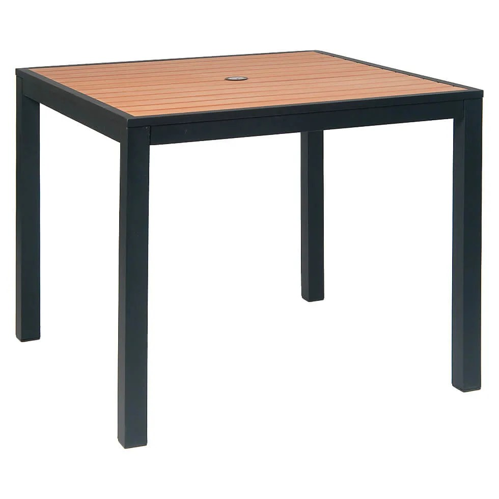 black aluminum patio table with natural plastic teak slats
