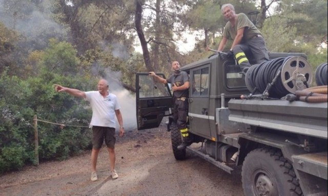 fire in the pine forest of pescara