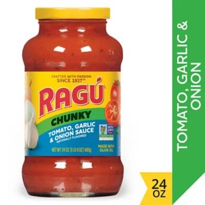 ragu chunky pasta sauce tomato garlic onion jar 24 oz