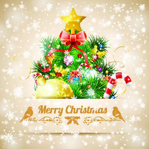 Merry Christmas Card Template Free Vector Download 28559